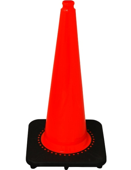 "Orange 28"" 7 lbs. SlimLine Traffic Cone with Black Base image"
