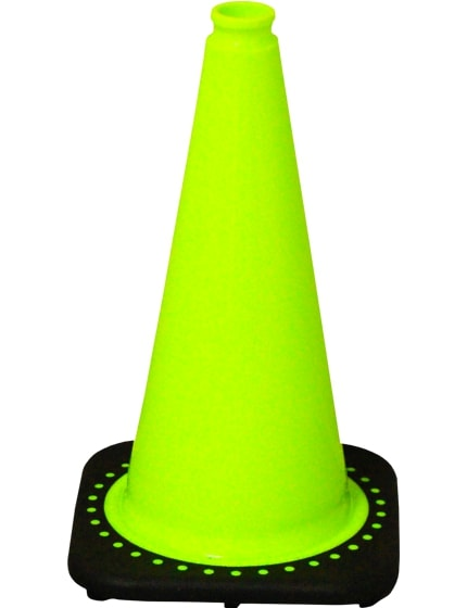 "Lime 18"" Traffic Cone with Black Base image"