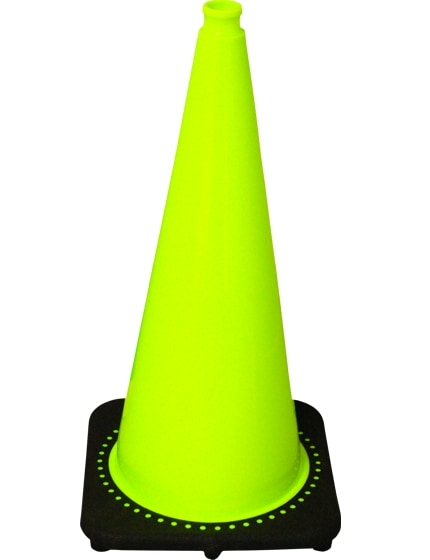 "Lime 28"" Traffic Cone with Black Base image"