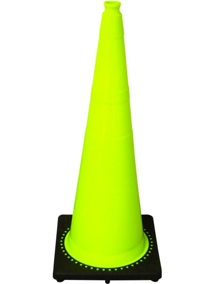 "Lime 36"" 10 Lb. Traffic Cone with Black Base image"