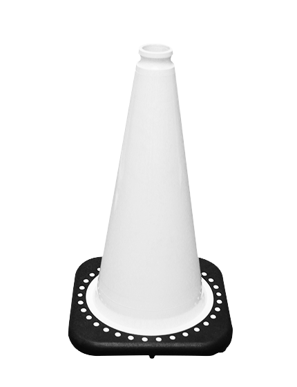 "White 18"" Traffic Cone with Black Base image"