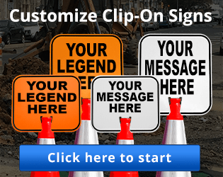 Customize clip-on signs for traffic cones