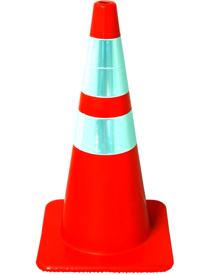 "28"" Solid Orange Traffic Cone with Reflective Collars"