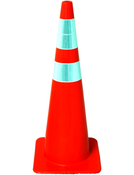 "36"" Solid Orange Cone with Reflective Collars"