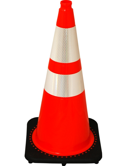 "28"" Black Base Orange Cone with Reflective Collars"